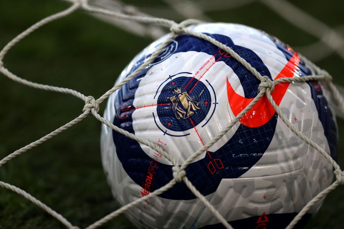 LONDON, ENGLAND - MAY 10: A detailed view of a Nike Flight Premier League match ball prior to the Premier League match between Fulham and Burnley at Craven Cottage on May 10, 2021 in London, England. Sporting stadiums around the UK remain under strict restrictions due to the Coronavirus Pandemic as Government social distancing laws prohibit fans inside venues resulting in games being played behind closed doors. (Photo by Catherine Ivill/Getty Images)