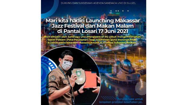 Poster acara launching festival musik jazz dan makan malam yang akan dihadiri Menteri Pariwisata dan Ekonomi Kreatif, Sandiaga Uno di Makassar, Sulawesi Selatan.