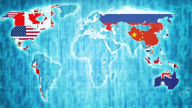 Asia-Pacific Economic Cooperation member countries flags on world map with national borders