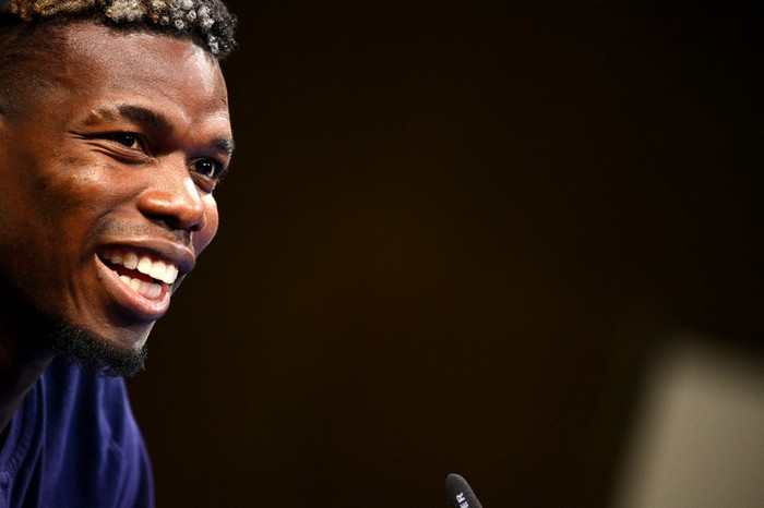 Frances midfielder Paul Pogba speaks during a press conference at the teams base camp in Clairefontaine-en-Yvelines on June 10, 2021 ahead of the UEFA EURO 2020 football competition. (Photo by FRANCK FIFE / AFP)