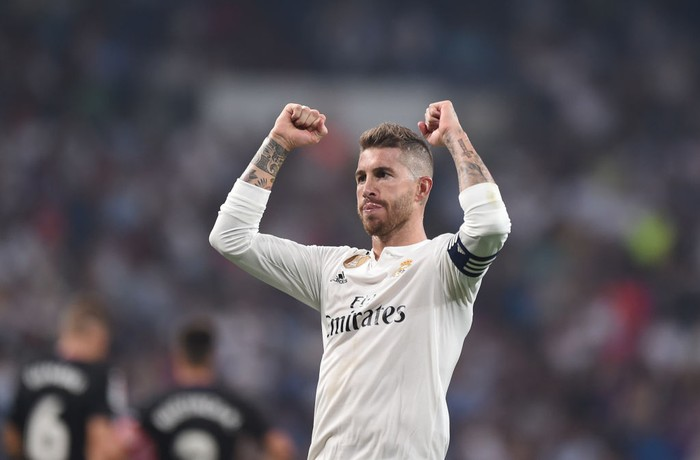 MADRID, SPAIN - SEPTEMBER 01:  Sergio Ramos of Real Madrid celebrates after scoring his team's 4th goal from the penalty spot during the La Liga match between Real Madrid CF and CD Leganes at Estadio Santiago Bernabeu on September 1, 2018 in Madrid, Spain. (Photo by Denis Doyle/Getty Images)