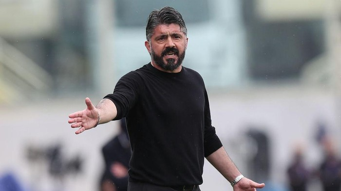 FLORENCE, ITALY - MAY 16: Gennaro Gattuso manager of SSC Napoli gestures during the Serie A match between ACF Fiorentina  and SSC Napoli at Stadio Artemio Franchi on May 16, 2021 in Florence, Italy.  (Photo by Gabriele Maltinti/Getty Images)