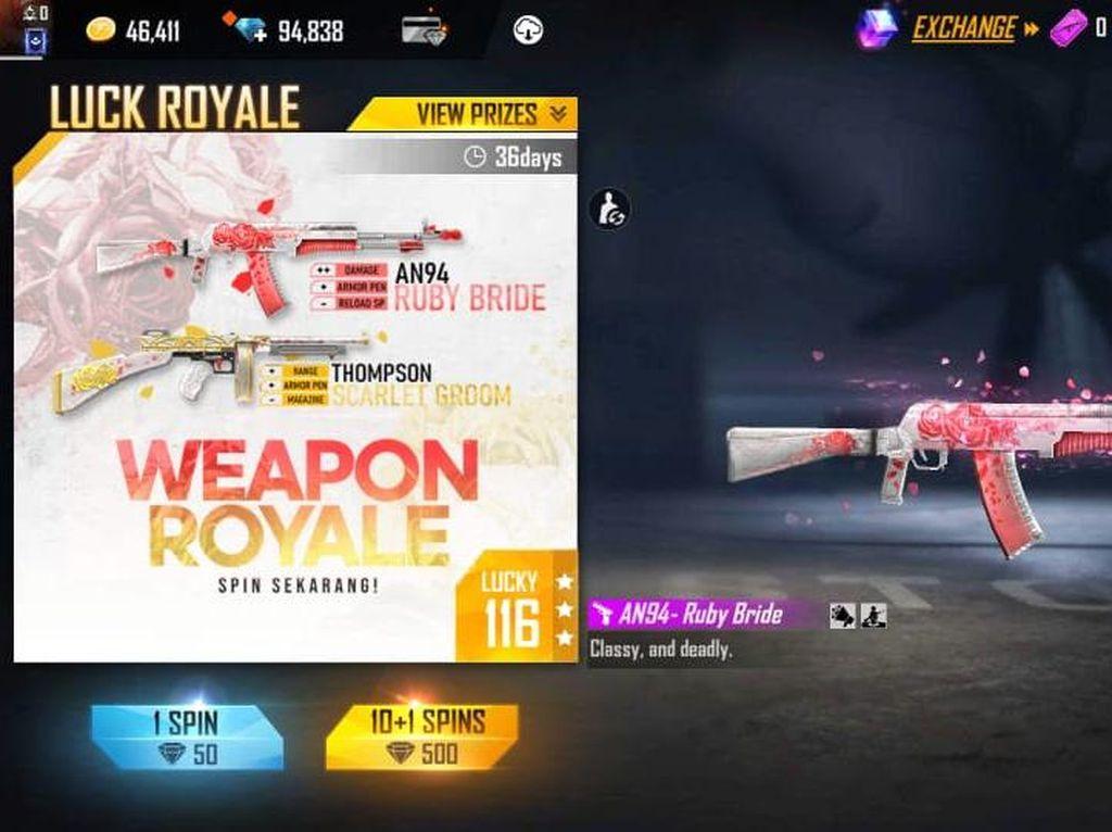 Gun Skin AN94 dan Thompson Hadir di Weapon Royale Terbaru Free Fire