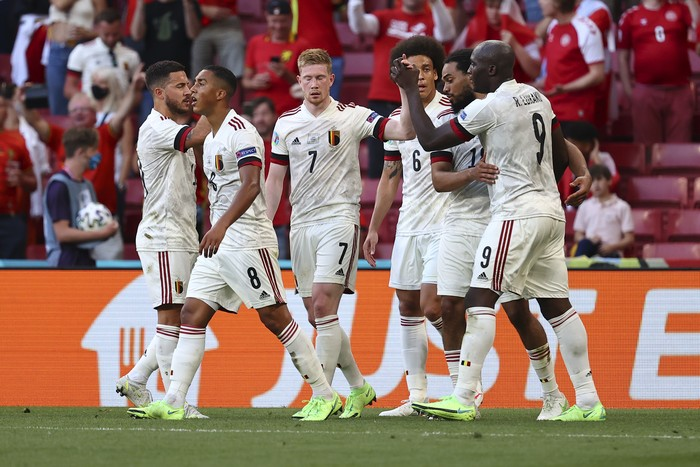 Belgiums Kevin De Bruyne, number 7, celebrates after scoring his sides 2nd goal during the Euro 2020 soccer championship group B match between Denmark and Belgium, at the Parken stadium in Copenhagen, Thursday, June 17, 2021. (Wolfgang Rattay, Pool via AP)