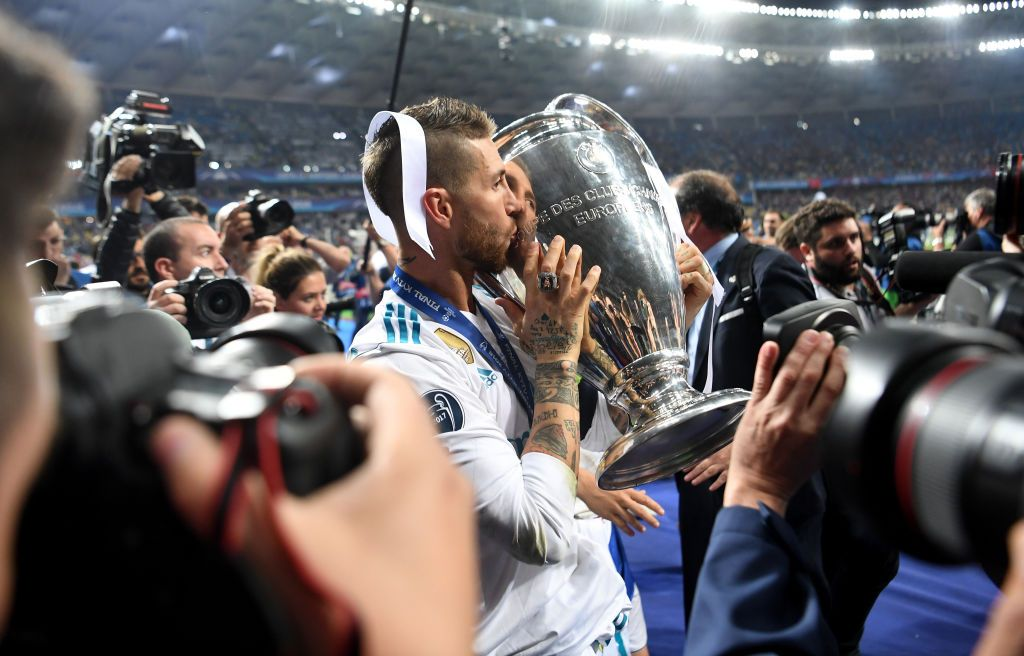 JEDDAH, SAUDI ARABIA - JANUARY 12: Sergio Ramos of Real Madrid celebrates after scoring from the penalty spot for his teams victory in the Supercopa de Espana Final match between Real Madrid and Club Atletico de Madrid at King Abdullah Sports City on January 12, 2020 in Jeddah, Saudi Arabia. (Photo by Francois Nel/Getty Images)