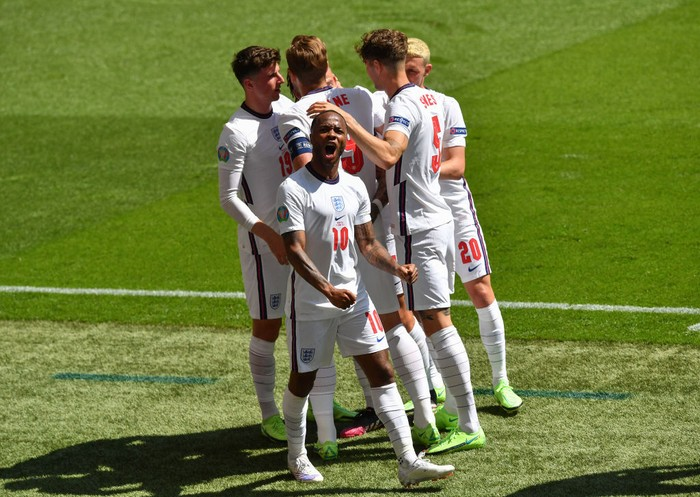 LONDON, ENGLAND - JUNE 13: Raheem Sterling of England celebrates after scoring their sides first goal during the UEFA Euro 2020 Championship Group D match between England and Croatia at Wembley Stadium on June 13, 2021 in London, England. (Photo by Justin Tallis - Pool/Getty Images )