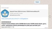 Subsidi Pulsa Rp 200 ribu dan Kuota 125 GB dari Kemendikbud, Hoax or Not?