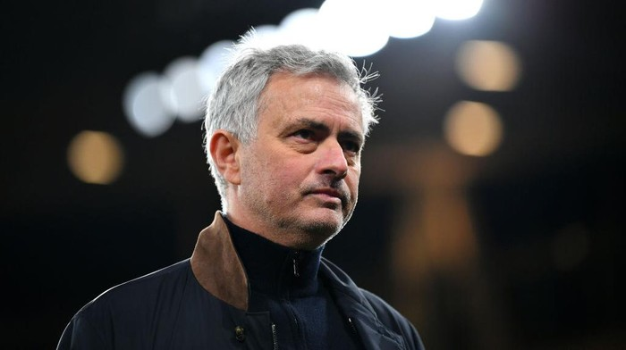 LONDON, ENGLAND - MARCH 14: Jose Mourinho, Manager of Tottenham Hotspur looks on following the Premier League match between Arsenal and Tottenham Hotspur at Emirates Stadium on March 14, 2021 in London, England. Sporting stadiums around the UK remain under strict restrictions due to the Coronavirus Pandemic as Government social distancing laws prohibit fans inside venues resulting in games being played behind closed doors. (Photo by Dan Mullan/Getty Images)