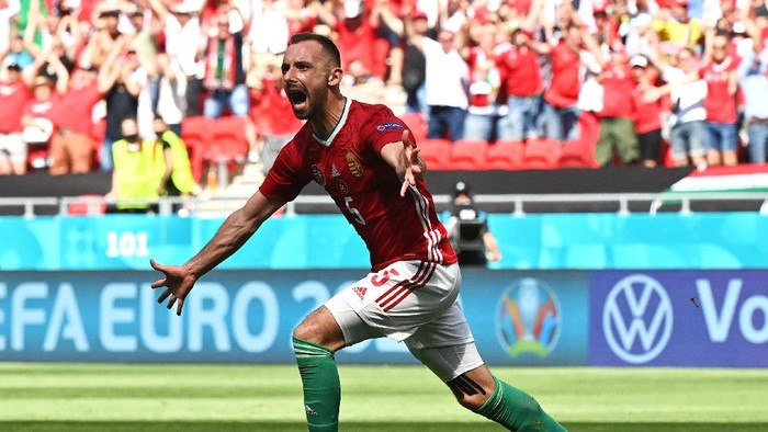 BUDAPEST, HUNGARY - JUNE 19: Attila Fiola of Hungary celebrates after scoring their sides first goal during the UEFA Euro 2020 Championship Group F match between Hungary and France at Puskas Arena on June 19, 2021 in Budapest, Hungary. (Photo by Tibor Illyes - Pool/Getty Images)