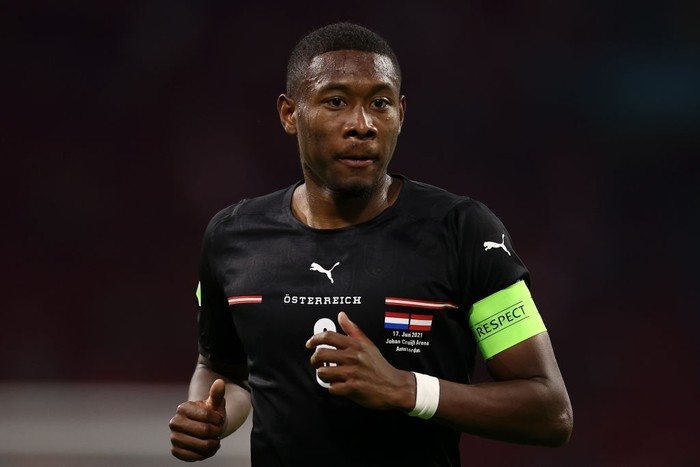 AMSTERDAM, NETHERLANDS - JUNE 17: David Alaba of Austria looks on during the UEFA Euro 2020 Championship Group C match between the Netherlands and Austria at Johan Cruijff Arena on June 17, 2021 in Amsterdam, Netherlands. (Photo by Dean Mouhtaropoulos/Getty Images)