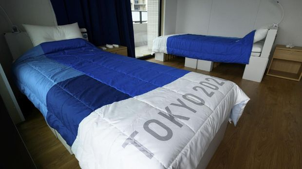 Recyclable cardboard beds and mattresses for athletes are pictured during a media tour at the Olympic and Paralympic Village for the Tokyo 2020 Games, in Tokyo, Japan June 20, 2021. Akio Kon/Pool via REUTERS