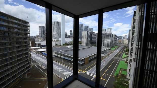 General view of residential buildings for athletes during a media tour at the Olympic and Paralympic Village for the Tokyo 2020 Games, in Tokyo, Japan June 20, 2021. Akio Kon/Pool via REUTERS