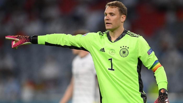 MUNICH, GERMANY - JUNE 15: Manuel Neuer of Germany reacts during the UEFA Euro 2020 Championship Group F match between France and Germany at Football Arena Munich on June 15, 2021 in Munich, Germany. (Photo by Matthias Hangst/Getty Images)