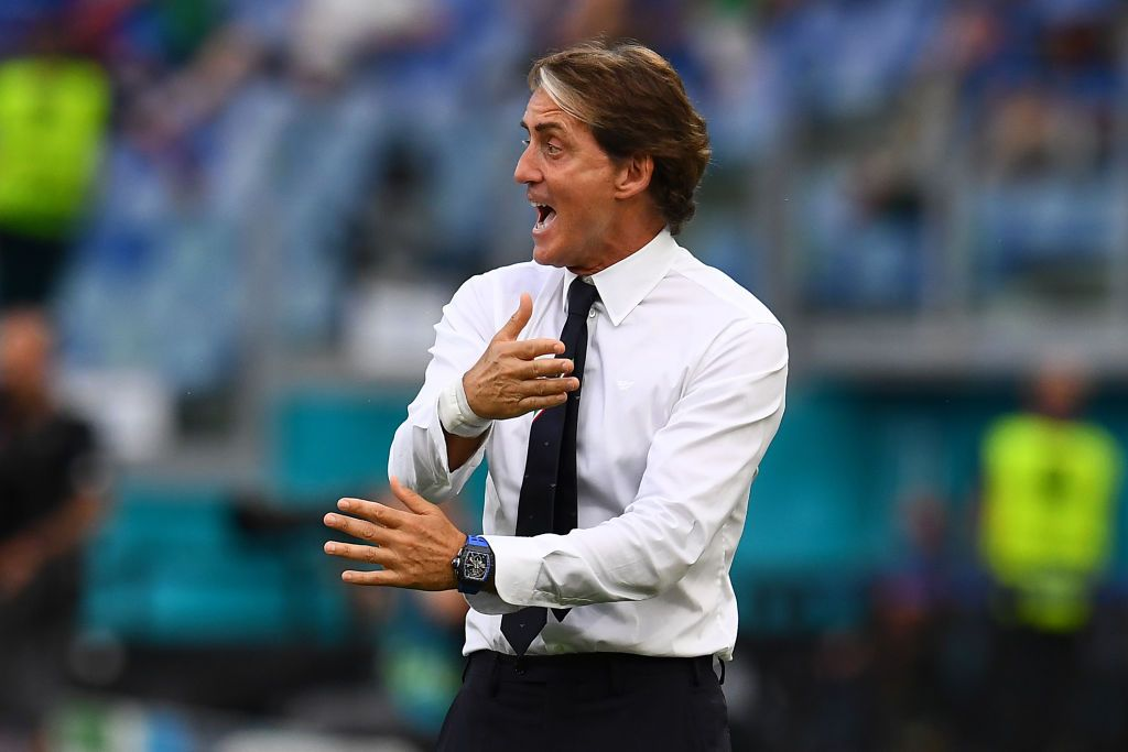 ROME, ITALY - JUNE 20: Roberto Mancini, Head Coach of Italy reacts during the UEFA Euro 2020 Championship Group A match between Italy and Wales at Olimpico Stadium on June 20, 2021 in Rome, Italy. (Photo by Claudio Villa/Getty Images)