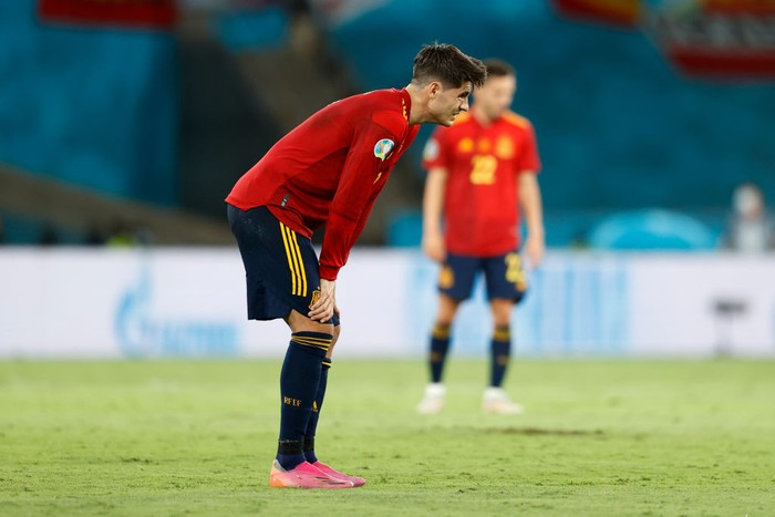 SEVILLE, SPAIN - JUNE 19: Alvaro Morata of Spain looks dejected after the UEFA Euro 2020 Championship Group E match between Spain and Poland at Estadio La Cartuja on June 19, 2021 in Seville, Spain. (Photo by Marcelo Del Pozo - Pool/Getty Images)