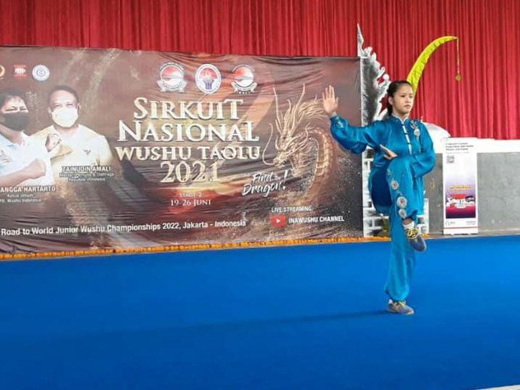 Cecilia Rebut Emas di Sirkuit Nasional Wushu Taolu Seri II/2021