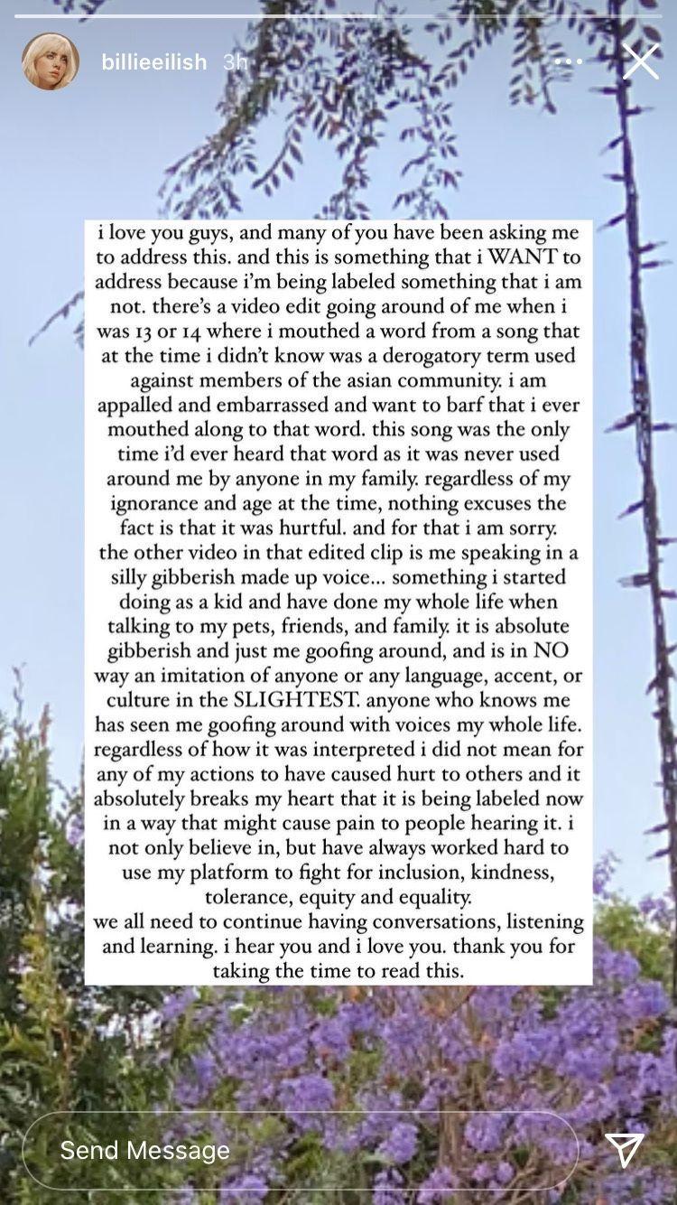 Penyanyi Billie Eilish meminta maaf dan mengklarifikasi setelah video yang merupakan gabungan dari dua video membuat dirinya dianggap rasis.