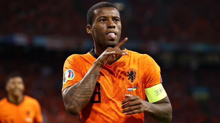 AMSTERDAM, NETHERLANDS - JUNE 13: Georginio Wijnaldum of Netherlands celebrates after scoring their sides first goal during the UEFA Euro 2020 Championship Group C match between Netherlands and Ukraine at the Johan Cruijff ArenA on June 13, 2021 in Amsterdam, Netherlands. (Photo by Koen van Weel - Pool/Getty Images)