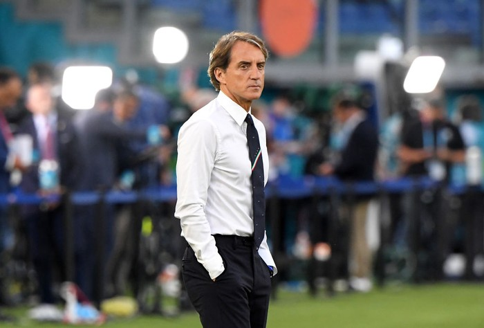 ROME, ITALY - JUNE 11: Roberto Mancini, Head Coach of Italy looks on during the warm up prior to the UEFA Euro 2020 Championship Group A match between Turkey and Italy at the Stadio Olimpico on June 11, 2021 in Rome, Italy. (Photo by Alberto Lingria - Pool/Getty Images)