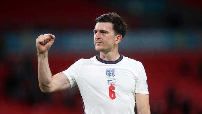 LONDON, ENGLAND - JUNE 22: Harry Maguire of England celebrates their sides victory after the UEFA Euro 2020 Championship Group D match between Czech Republic and England at Wembley Stadium on June 22, 2021 in London, England. (Photo by Carl Recine - Pool/Getty Images)