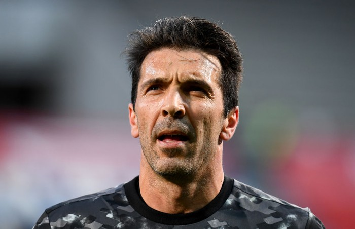 REGGIO NELLEMILIA, ITALY - MAY 19: Gianluigi Buffon of Juventus looks on ahead of the TIMVISION Cup Final between Atalanta BC and Juventus on May 19, 2021 in Reggio nellEmilia, Italy. A limited number of fans will be allowed into the stadium as Coronavirus restrictions begin to ease in the UK. (Photo by Claudio Villa/Getty Images for Lega Serie A)