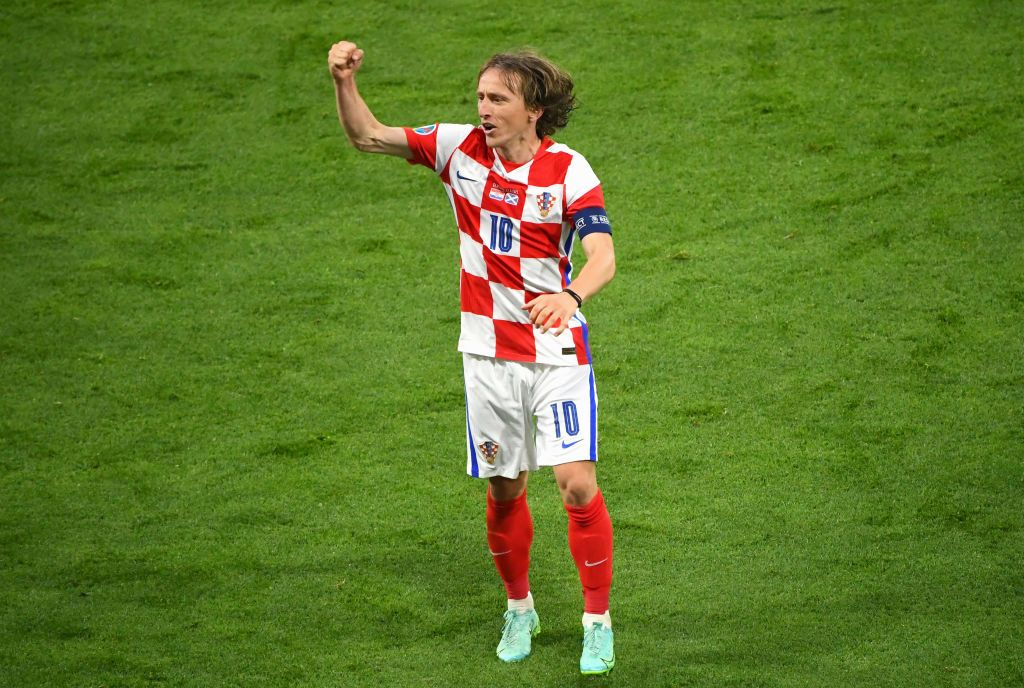 GLASGOW, SCOTLAND - JUNE 22: Luka Modric of Croatia shoots during the UEFA Euro 2020 Championship Group D match between Croatia and Scotland at Hampden Park on June 22, 2021 in Glasgow, Scotland. (Photo by Lee Smith - Pool/Getty Images)