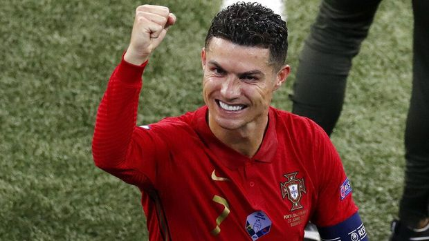 Portugal's Cristiano Ronaldo reacts after Euro 2020 soccer championship group F match between Portugal and France at the Ferenc Puskas stadium in Budapest, Hungary, Wednesday, June 23, 2021. (AP Photo/Laszlo Balogh, Pool)