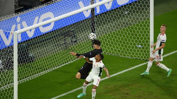 MUNICH, GERMANY - JUNE 23: Kai Havertz of Germany scores their side's first goal during the UEFA Euro 2020 Championship Group F match between Germany and Hungary at Allianz Arena on June 23, 2021 in Munich, Germany. (Photo by Matthias Hangst/Getty Images)