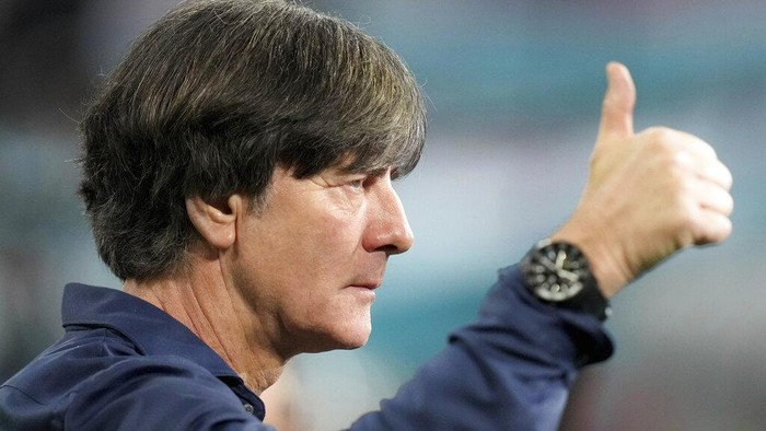 Germanys manager Joachim Loew reacts during an interview ahead of the Euro 2020 soccer championship group F match between Germany and Hungary at the Allianz Arena in Munich, Germany,Wednesday, June 23, 2021. (AP Photo/Matthias Schrader, Pool)