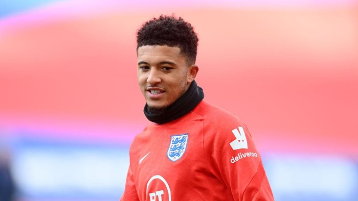 LONDON, ENGLAND - OCTOBER 11: Jadon Sancho of England warms up ahead of the UEFA Nations League group stage match between England and Belgium at Wembley Stadium on October 11, 2020 in London, England. Football Stadiums around Europe remain empty due to the Coronavirus Pandemic as Government social distancing laws prohibit fans inside venues resulting in fixtures being played behind closed doors. (Photo by Michael Regan/Getty Images)