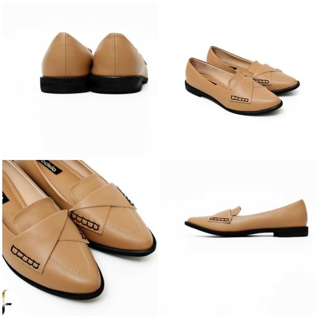 Sepatu loafers wanita ini berbentuk slip on tanpa tali dengan sol nya yang tebal dan biasanya terbuat dari bahan leather