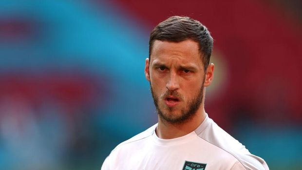 AMSTERDAM, NETHERLANDS - JUNE 16: Marko Arnautovic of Austria looks on during the Austria Training Session ahead of the Euro 2020 Group C match between Netherlands and Austria at Johan Cruijff Arena on June 16, 2021 in Amsterdam, Netherlands. (Photo by Dean Mouhtaropoulos/Getty Images)
