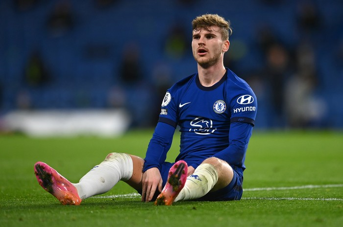 LONDON, ENGLAND - MAY 18: Timo Werner of Chelsea looks on  during the Premier League match between Chelsea and Leicester City at Stamford Bridge on May 18, 2021 in London, England. A limited number of fans will be allowed into Premier League stadiums as Coronavirus restrictions begin to ease in the UK following the COVID-19 pandemic. (Photo by Glyn Kirk - Pool/Getty Images)