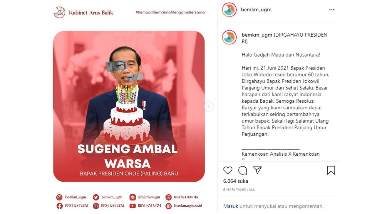 BEM UGM Sindir Jokowi di Hari Ulang Tahun