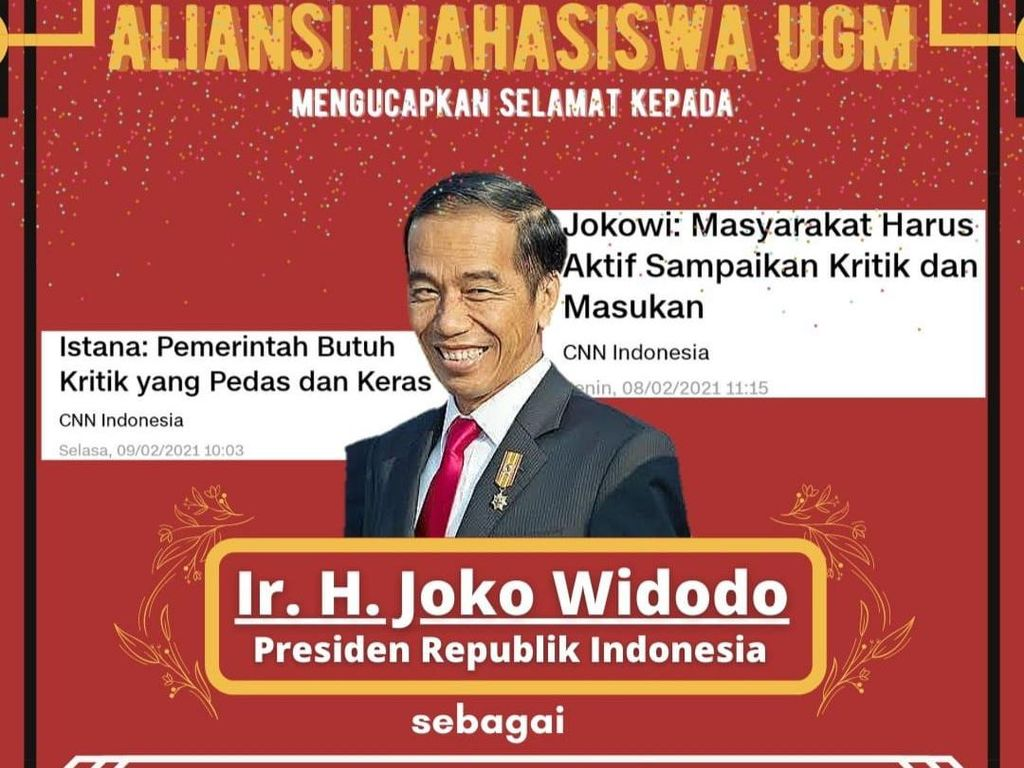 Dari Mahasiswa UGM untuk Jokowi: Beri Gelar Juara-Saran Tak Umbar Janji