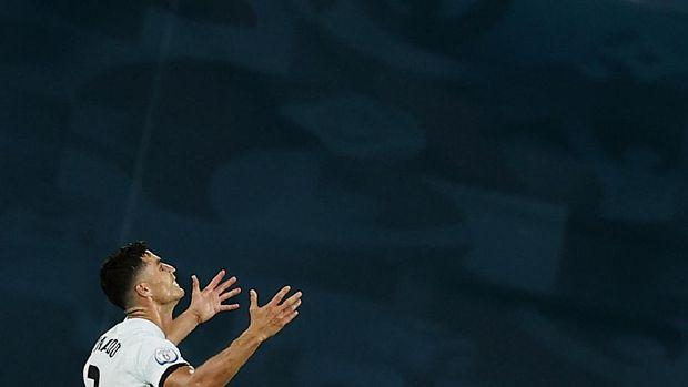 Soccer Football - Euro 2020 - Round of 16 - Belgium v Portugal - La Cartuja Stadium, Seville, Spain - June 27, 2021 Portugal's Cristiano Ronaldo reacts after the match Pool via REUTERS/Marcelo Del Pozo