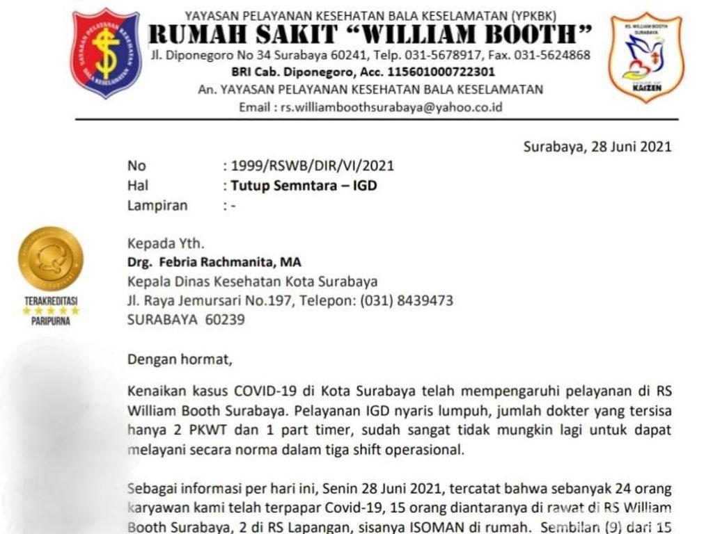 Beredar Surat RS William Booth Surabaya Minta Izin Lockdown