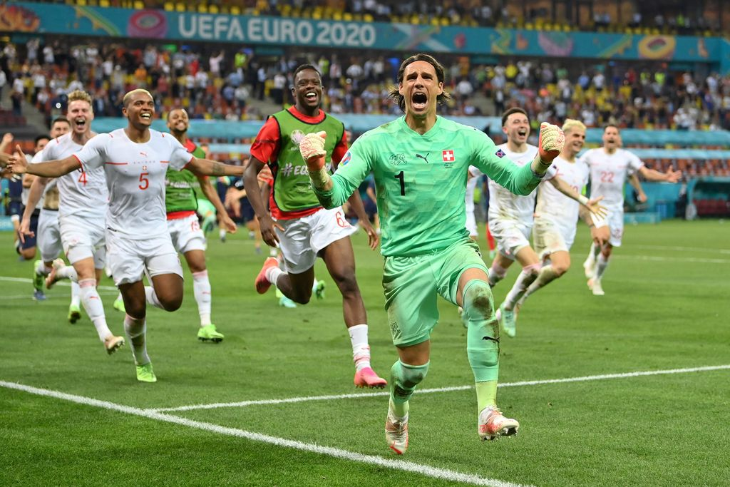 BUCHAREST, ROMANIA - JUNE 28:  Yann Sommer of Switzerland celebrates after saving the decisive penalty taken by Kylian Mbappe of France (Not pictured) during the UEFA Euro 2020 Championship Round of 16 match between France and Switzerland at National Arena on June 28, 2021 in Bucharest, Romania. (Photo by Justin Setterfield/Getty Images)
