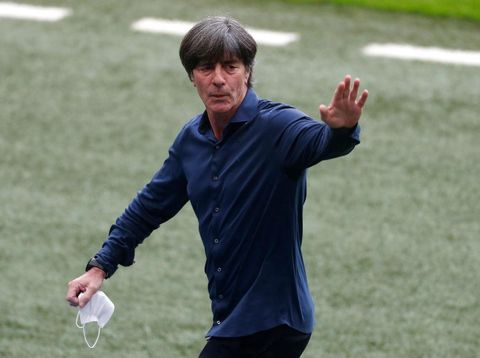 LONDON, ENGLAND - JUNE 29: Joachim Loew, Head Coach of Germany reacts prior to the UEFA Euro 2020 Championship Round of 16 match between England and Germany at Wembley Stadium on June 29, 2021 in London, England. (Photo by Matthew Childs - Pool/Getty Images)