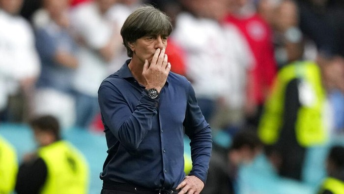 Germanys manager Joachim Loew reacts after England scored their second goal during the Euro 2020 soccer championship round of 16 match between England and Germany at Wembley stadium in London, Tuesday, June 29, 2021. (AP Photo/Frank Augstein, Pool)