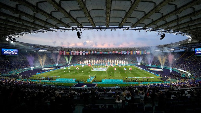ROME, ITALY - JUNE 11: A general view of the opening ceremony inside the stadium prior to the UEFA Euro 2020 Championship Group A match between Turkey and Italy at the Stadio Olimpico on June 11, 2021 in Rome, Italy. (Photo by Andrew Medichini - Pool/Getty Images)