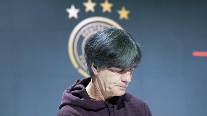 After the German teams elimination against England German coach Joachim Loew takes part in an online press conference in Herzogenaurach, Germany, Wednesday, June 30, 2021. (Federico Gambarini/dpa via AP)