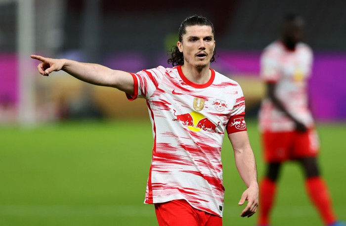 BERLIN, GERMANY - MAY 13: Marcel Sabitzer of RB Leipzig runs gestures during the DFB Cup final match between RB Leipzig and Borussia Dortmund at Olympic Stadium on May 13, 2021 in Berlin, Germany. Sporting stadiums around Germany remain under strict restrictions due to the Coronavirus Pandemic as Government social distancing laws prohibit fans inside venues resulting in games being played behind closed doors. (Photo by Martin Rose/Getty Images)