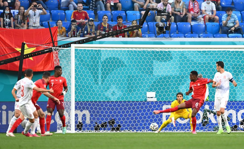 SAINT PETERSBURG, RUSSIA - JULY 02: The ball deflects off Denis Zakaria of Switzerland past Yann Sommer leading to the Spain first goal scored by Jordi Alba during the UEFA Euro 2020 Championship Quarter-final match between Switzerland and Spain at Saint Petersburg Stadium on July 02, 2021 in Saint Petersburg, Russia. (Photo by Kirill Kudryavstev - Pool/Getty Images)