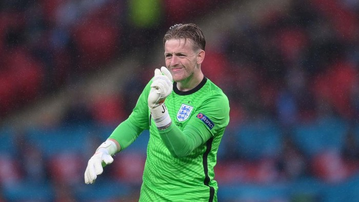 LONDON, ENGLAND - JUNE 18: Jordan Pickford of England reacts during the UEFA Euro 2020 Championship Group D match between England and Scotland at Wembley Stadium on June 18, 2021 in London, England. (Photo by Laurence Griffiths/Getty Images)