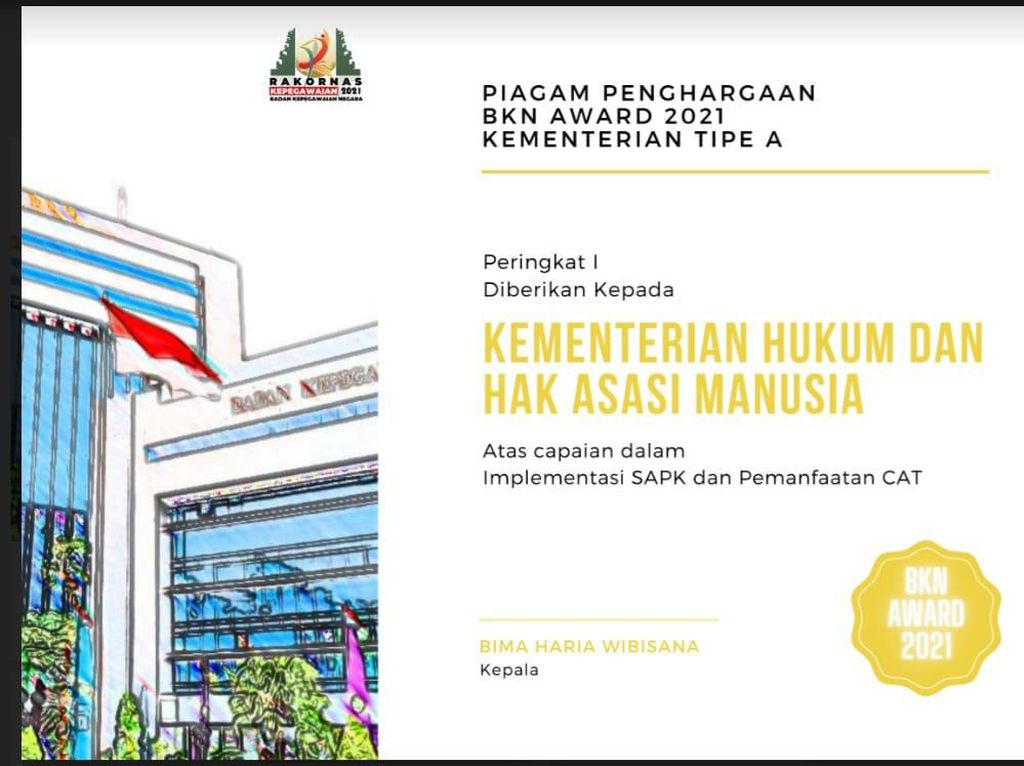 Kemenkum HAM Borong 2 BKN Award 2021 Manajemen Kepegawaian