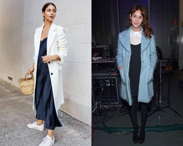 Layer di luar dress dengan overcoat atau jaket dengan warna yang mencolok.