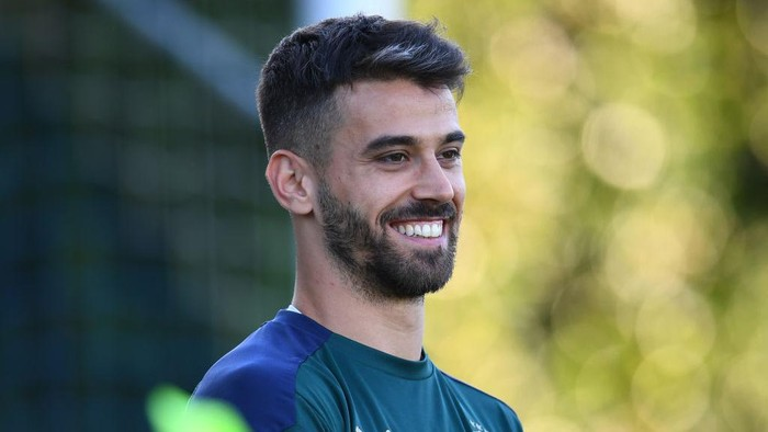 FLORENCE, ITALY - JUNE 29: Leonardo Spinazzola of Italy in action during a Italy training session at Centro Tecnico Federale di Coverciano on June 29, 2021 in Florence, Italy. (Photo by Claudio Villa/Getty Images)