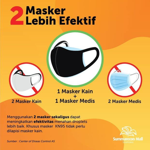 Penggunaan dua masker lebih efektif/Instagram.com/sms_serpong
