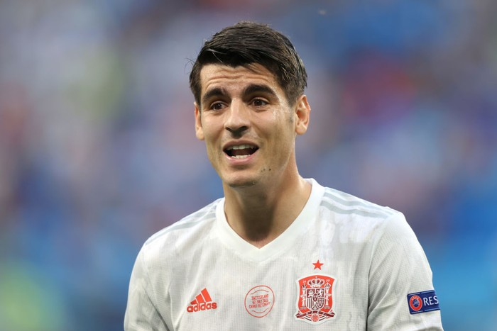 SAINT PETERSBURG, RUSSIA - JULY 02: Alvaro Morata of Spain looks on during the UEFA Euro 2020 Championship Quarter-final match between Switzerland and Spain at Saint Petersburg Stadium on July 02, 2021 in Saint Petersburg, Russia. (Photo by Alexander Hassenstein/Getty Images)